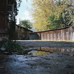 Forgotten backyard (RTsubin) Tags: pictures county street old city autumn 120 6x6 tlr film analog vintage mediumformat square lens outside outdoors photography photo reflex nice europe exposure tallinn estonia shot image photos kodak pics outdoor picture 85mm twin images location best 120film negative cameras shore medium format mf analogue lovely oldtown portra iv breathtaking eesti estonian 160 rolleicord f35 500x500 harju   maakond kodakfilms