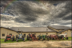 HDR Stormy (Michel Arel) Tags: tractor storm clouds canon gris mich