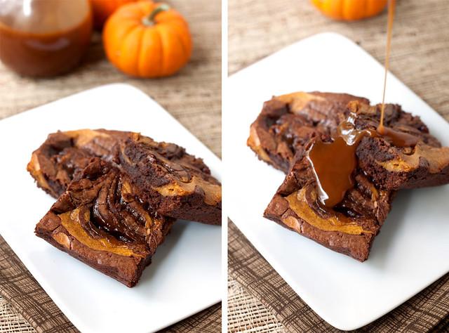 Caramel-Pumpkin Swirl Brownies