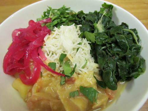 Creamy Potato Peanut Stew; Pickled Red Onions; Basic White Rice, steamed chard