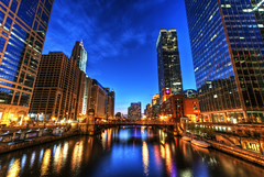 The Good Kind of Blues (Christopher.F Photography) Tags: blue chicago water skyline reflections river nikon long exposure downtown cityscape loop walk hour hdr hdri d3000