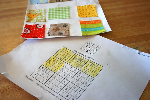 Sew-doku pattern using a Sudoku puzzle