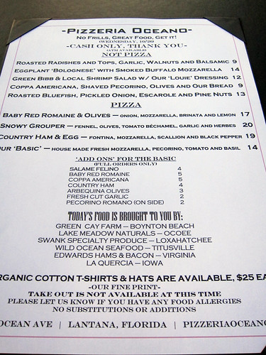 Pizzeria Oceano menu