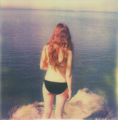 (theonlymagicleftisart) Tags: cliff water girl polaroid dream redhead 680slr px70 impossibleproject