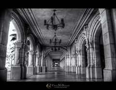 Balboa Park Hallways (Chad McDonald) Tags: california park ca city light white black building architecture canon landscape photography arch shadows sandiego chad hallway prado mcdonald balboapark xsi elprado 450d chadmcdonald