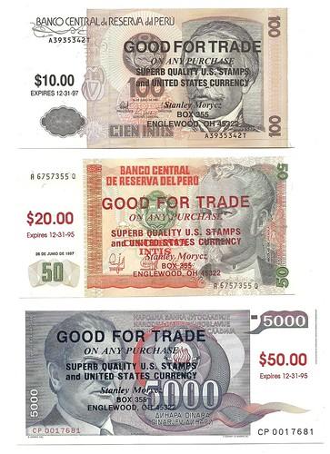 Morycz ovrprinted banknotes