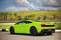 Grasshopping (anType) Tags: light italy green sports nature car italian asia exotic malaysia kualalumpur lime lamborghini luxury coupe supercar bluejackets v10 sepang gallardo sportscar lambo blackrims worldcars verdeithaca lp5604