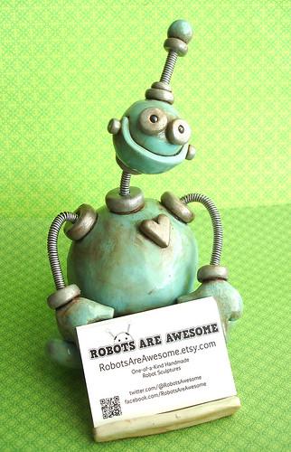 Blue Benny Robot Sculpture Business Card Holder by HerArtSheLoves