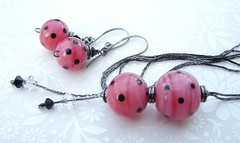 Teenage Kicks (Glittering Prize - Trudi) Tags: pink black glass necklace beads handmade polka jewellery earrings jewelery slinky dots trudi lampwork glitteringprize