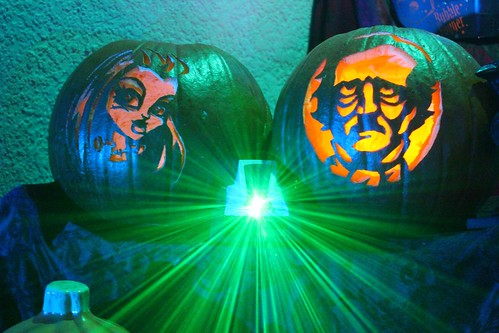 Real carved pumpkins - Frankie Stein from Monster High and Edgar Allan Poe