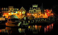 Harbor Lights (.Walt Wilkitis) Tags: red water yellow reflections boats lights harbor pier stores milfordct canonxs flickraward