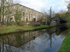 Huddersfield Narrow Canal (jrw080578) Tags: autumn trees buildings reflections canal saddleworth huddersfieldnarrowcanal
