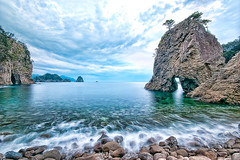 Futo Coast in 3:56 PM (-TommyTsutsui- [nextBlessing]) Tags: longexposure blue sea sky cloud seascape beach nature rock japan landscape coast nikon waves tide scenic shore cave     islet hdr izu   ndfilter   nishiizu sigma1020   onsalegettyimages