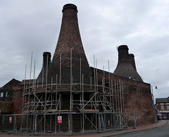 Restoration of our past, or possibly just maintenance. (stokeyouth1) Tags: building brick heritage museum architecture bottle oven urbandecay panasonic stokeontrent scaffold kiln past staffordshire gladstone compact listed potteries listedbuilding longton dmctz5 neckend