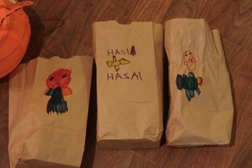 decorated bags for storing Halloween candy