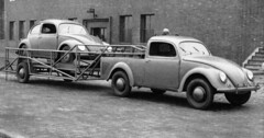 A KDF Pickup And Specially Made Trailer With Very Early KDF On Tow Late 1940s (Kelvin64) Tags: volkswagen early with very beetle pickup made 1940s and late trailer tow on specially kdf a