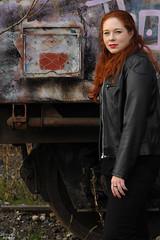 Graffiti on the Train (Lord Markus) Tags: portrait abandoned beautiful train model nikon decay blueeyes 14 tracks railway redhead occhi chiara stazione 85 ragazza ferrovia rossa azzurri abbandonata samyang capellirossi valmorea d300s