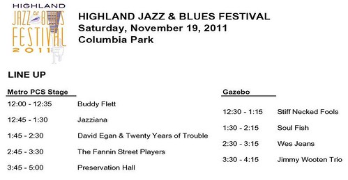 Highland Jazz & Blues Fest 2011, Sat, Nov 19, noon to 5 pm by trudeau