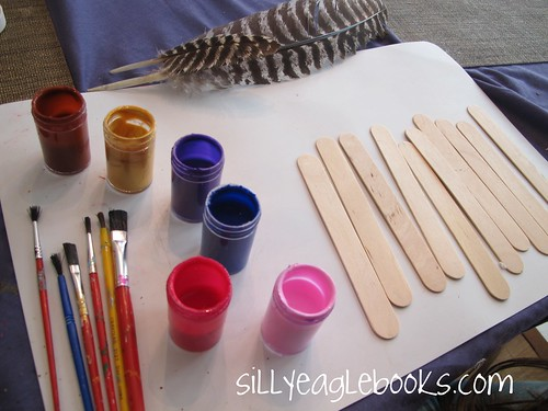 painting popsicle stick turkey feathers