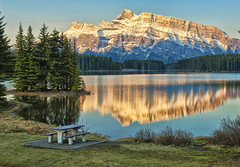 First Light at Two Jack Lake (Jeff Clow) Tags: lake nature landscape bravo albertacanada banffnationalpark firstlight canadianrockies twojacklake