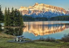 First Light at Two Jack Lake (Jeff Clow) Tags: lake nature landscape bravo albertacanada banffnationalpark firstlight canadianrockies twojacklake