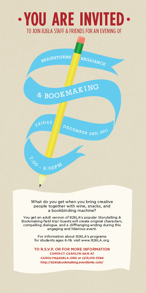 826 LA's Bookmaking Event for Adults December 2!