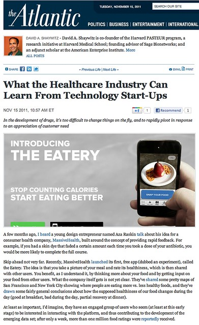 The Atlantic: What the Healthcare Industry Can Learn From Technology Start-Ups (11.15.2011)