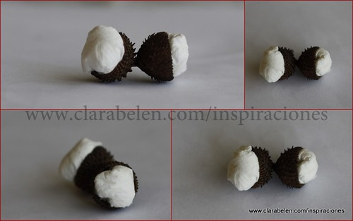 Cascabillos de bellotas rellenas de papel de aluminio, algodón, lana o servilletas de papel