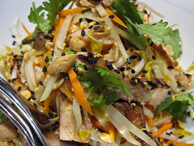 Spicy Green Papaya Chicken salad, with soy ginger vinaigrette