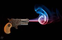 On Your Mark, Get Set....... (Psycho_Babble) Tags: gun smoke incense smokeart smokephotography smokephoto smokemanipulation mygearandme blinkagain creativesmoke