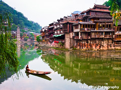 Fenghuang, China (Feng Wei Photography) Tags: china morning travel light summer wallpaper vacation color reflection building tourism water beautiful beauty architecture river landscape boat town amazing scenery colorful asia scenic culture vivid landmark historic historical 中国 旅游 majestic oldtown fenghuang hunan 古镇 凤凰 湖南 湘西 沱江 地理 亚洲 gettyimageschinaq3 diaojiaohouse