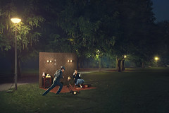 Outside Living (Joep R.) Tags: park trees woman man grass amsterdam wall night project outside lights living phone furniture models lawn livingroom 50s concept kowing