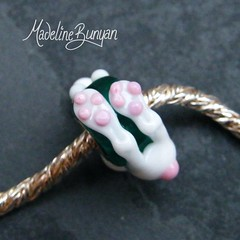 "White bunny on teal Silver cored bead • <a style=""font-size:0.8em;"" href=""https://www.flickr.com/photos/37516896@N05/6418492565/"" target=""_blank"">View on Flickr</a>"