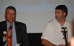 Eric Waters of Pen Bay Healthcare discussed employee preparedness at a forum on education and the economic future of Maine's Midcoast. Jim Lattin of Fisher Engineering in Rockland is at right.