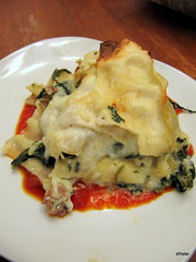 spinach & artichoke lasagna on marinara