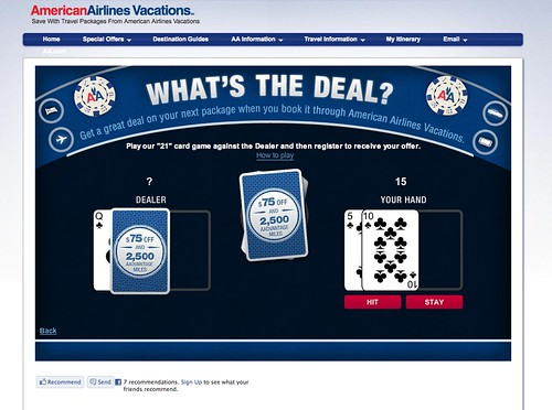 Screenshot of AA Vacations What's the Deal promotion