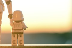 Enjoying the sunset (Kalexanderson) Tags: stilllife backlight toys starwars lego son troopers stormtrooper fatherandson familylife ordinarylife 365daysofstormtroopers stormtrooperandson