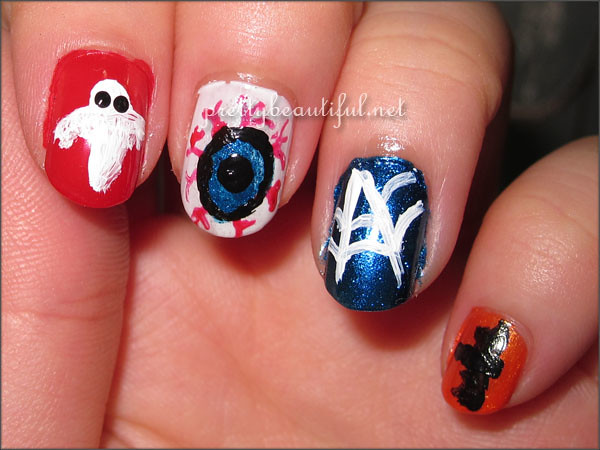 Halloween nail art tutorial broken eyeball
