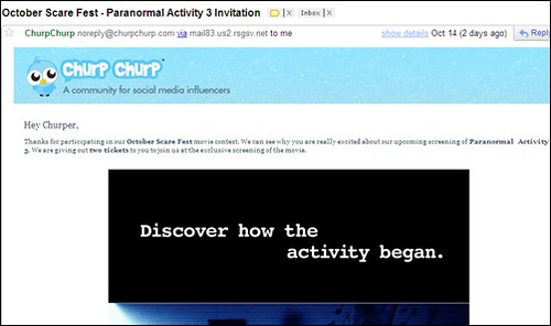 Email RSVP dari ChurpChurp menonton October Scare Fest – Paranormal Activity 3