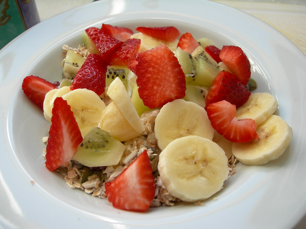 fruit and muesli and yoghurt
