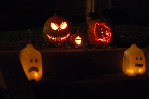 Jack Skellington, Winnie the Pooh, and Cupcake Pumpkins with Spirit Jugs
