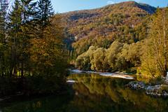 Early autumn (Karmen Smolnikar) Tags: autumn reflection fall nature forest river hill slovenia slovenija bohinj sava treers bohinjka