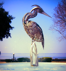 Iron Bird (Stacy Ann Young) Tags: heron florida ironbird birdsculpture birdfountain lakeeustis ferranpark steelheron