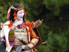 """""""Tomoe Gozen"""" on horseback (arumukos) Tags: kyoto maiko geiko kimono gion teahouse yakata maikosan ochaya okiya hanamachi tomoegozen gionkobu geikosan kagai ozashiki hasbeeninexplore gionkoubu ochayagame ozashikiasobi tamahasan jidaimatsuri2011"""