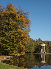 Munich - monopteros (Apollotempel) in Nymphenburg Palace park (DusanV) Tags: blue autumn trees sky lake nature water architecture germany munich colours german monopteros doubleniceshot