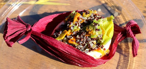 Rivera's corn flan with black quinoa and squish blossom