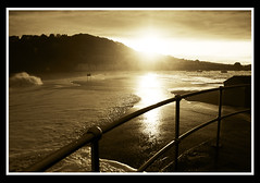IMG_5463a (Meakmogs) Tags: sunset storm reflection beach sepia teignmouth
