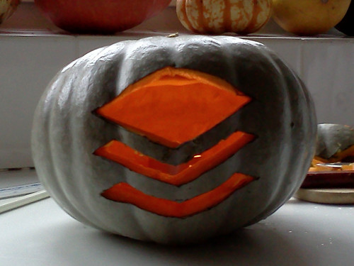 Buffer pumpkin with a candle inside