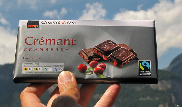 20110615_14 Fairtrade vegan chocolate - dark, with cranberries. Found at Coop in Arth-Goldau, Switzerland.