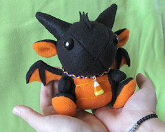 Dragon Plushie - Halloween (DragonsAndBeasties) Tags: orange baby black cute halloween necklace ebay dragon forsale sweet handmade unique ooak critter small chibi gift stuffedanimal kawaii bracelet plushie handsewn etsy collar custom fleece commission candycorn stuffie dragonsandbeasties
